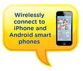 Wirelessly connect to iPhone and Android smart phones