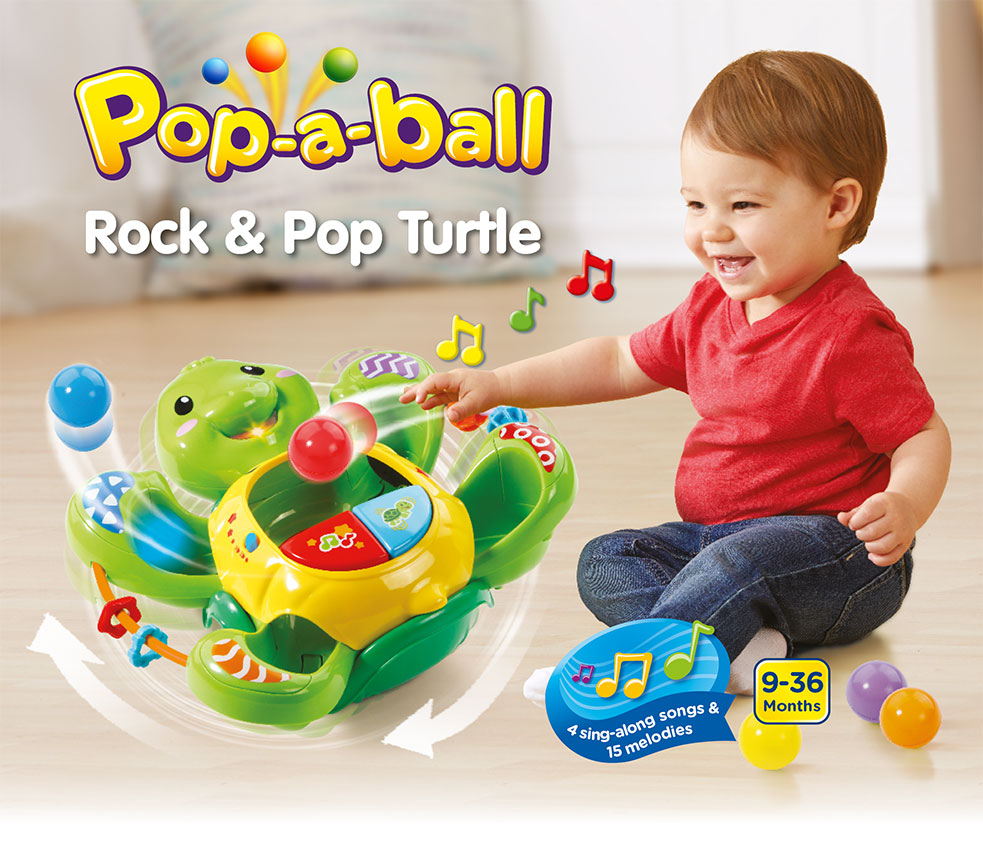 Pop-a-ball Rock & Pop Turtle 4 sing-along songs & 15 melodies 9-36 Months