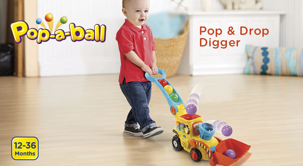Pop-a-ball. Pop & Drop Digger. 12-36 months.